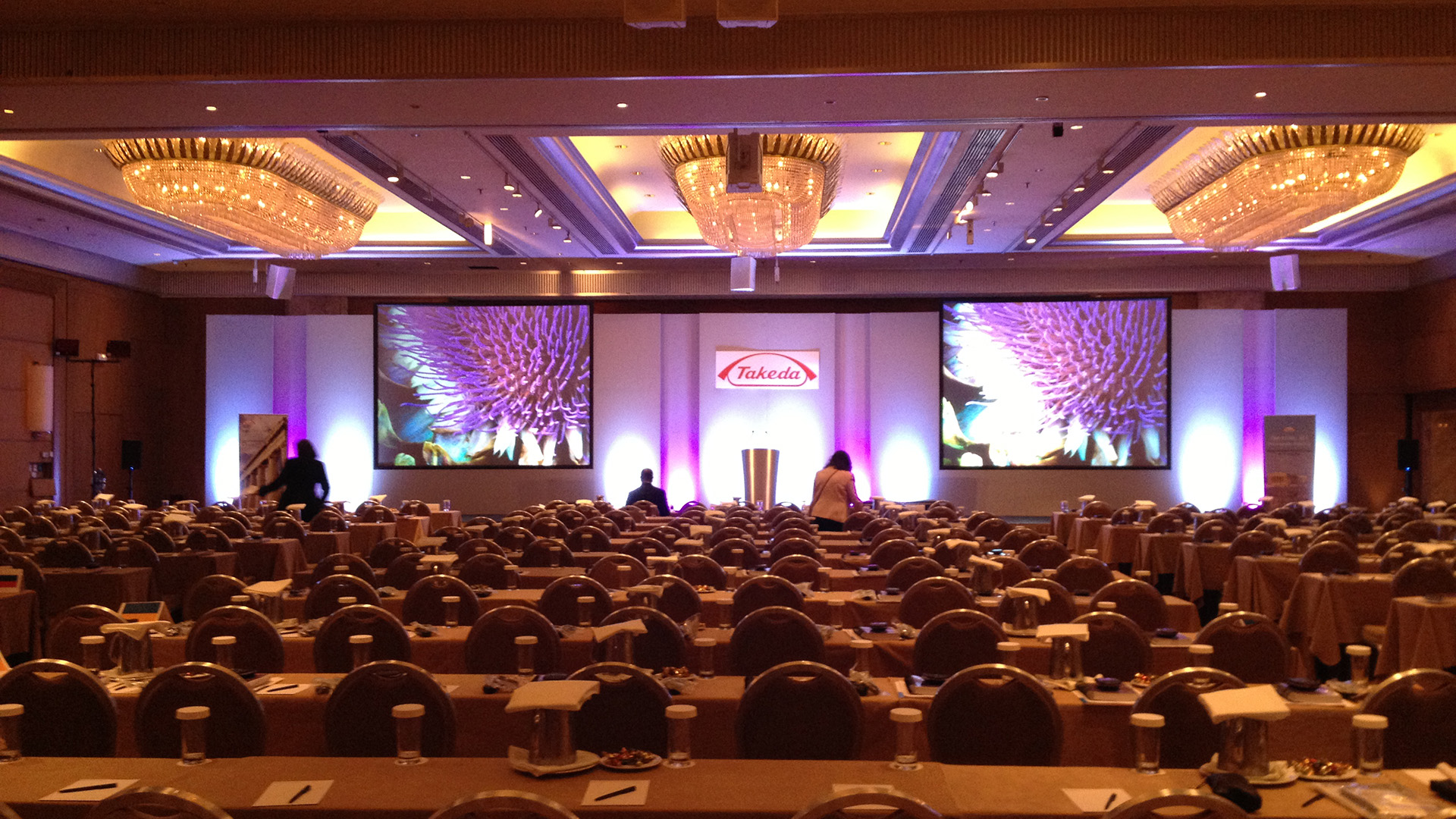 Large conference set with sound, lighting, video, production